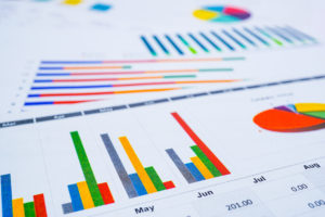 Charts Graphs spreadsheet paper. Financial development, Banking Account, Statistics, Investment Analytic research data economy, Stock exchange Business office company meeting concept.